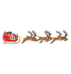 santa claus sleigh full gifts and his reindeers vector image