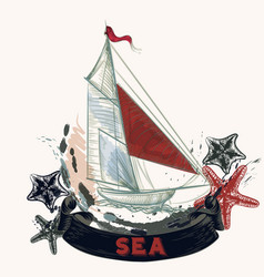 Sea background with ship in engraved style vector