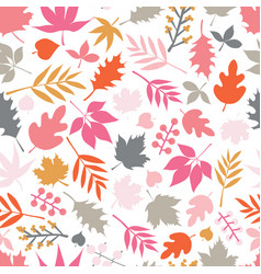 Seamless background autumn doodle leaves vector