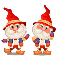set of funny gnome isolated on a white background vector image