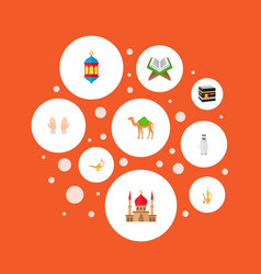 set of holiday icons flat style symbols with kaaba vector image