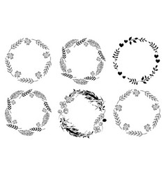 set of monochrome circle frames doodle leaf vector image
