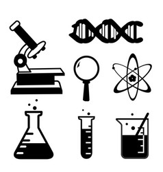 set of science stuff icon lab cartoon icon vector image