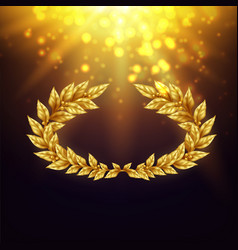 shiny background with golden laurel wreath vector image