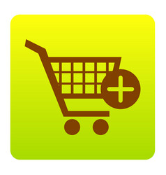 shopping cart with add mark sign brown vector image