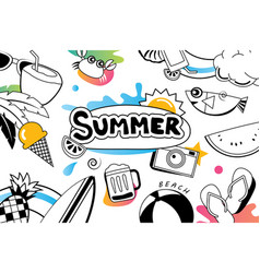 summer doodles symbol and objects icon elements vector image