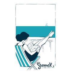 Summer relax girl reading a book near sea vector
