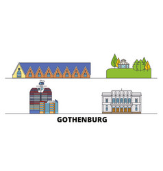 Sweden gothenburg flat landmarks vector