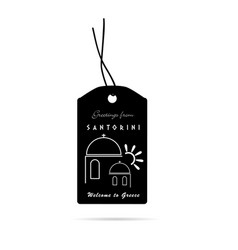 Tag with santorini greek island icon vector