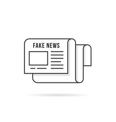 Thin line fake news logo like newspaper vector