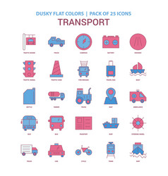 Transport icon dusky flat color - vintage 25 icon vector