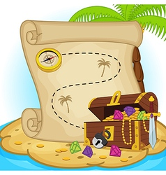 Treasure map and treasure chest on island vector