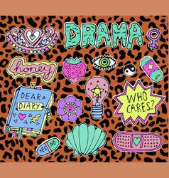 Trendy teen stickers vector