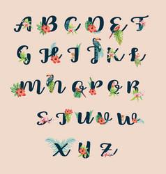 Tropical alphabet hand writing typographic design vector