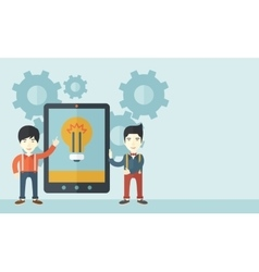 Two businessmen holding big screen tablet vector image