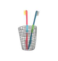 two toothbrushes in metal cup zero waste reusable vector image