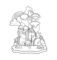 unicorn and princess in the landscape with rainbow vector image