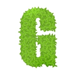 Uppecase letter G consisting of green leaves vector image