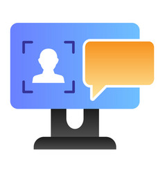User on computer monitor flat icon authorization vector
