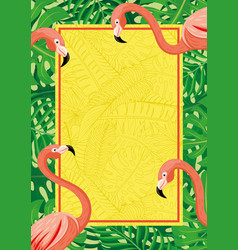 vertical banner with flamingo birds vector image