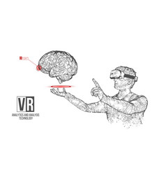 Vr wireframe headset man with brain banner vector