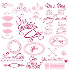 wed calligraphy 380 vector image