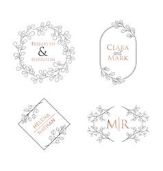 wedding floral monogram collection modern vector image