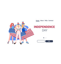 Women in festive hats with usa flag celebrating vector