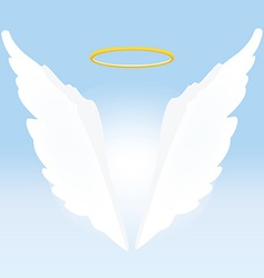 Angel wings and nimbus vector image