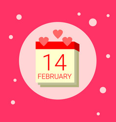 calendar page with 14 february date icon on pink vector image