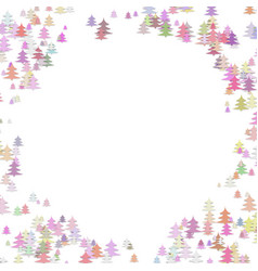 Color pine tree forest round frame design vector