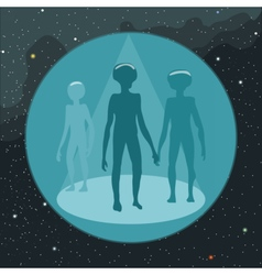 Digital with ufo aliens coming vector image