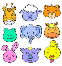 doodle of animal smile cute collection vector image