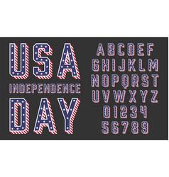 font usa flag stars and stripes vector image