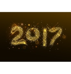 Number 2017 year Golden confetti flash vector image vector image