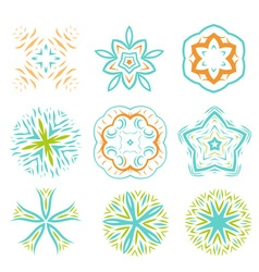 Ornament line art design colorful set vector image vector image