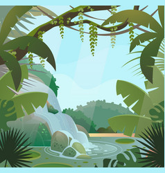 rainforest in jungle with palms and waterfall vector image vector image