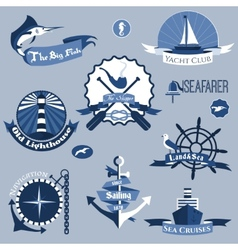 Sea Labels Set vector image
