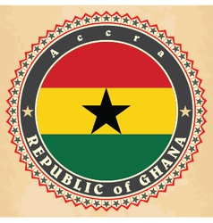 Vintage label cards of Ghana flag vector image