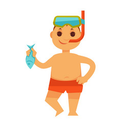 Boy kid or child in snorkeling mask holding fish vector