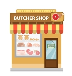 Butcher shop meat showcase icon flat style vector image vector image