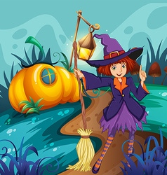 Cute witch and mushroom house vector image