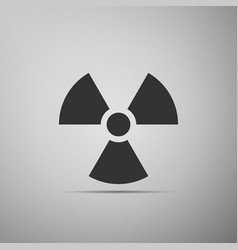 radiation symbol flat icon on grey background vector image vector image