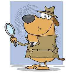 Smiling Detective Doggy Holding A Magnifying Glass vector image vector image