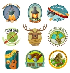 Camping Colorful Emblems vector image vector image