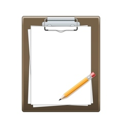 Clipboard with paper and pencil vector image vector image