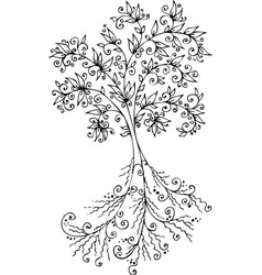 Floral Decorative tree vignette 300 vector image vector image