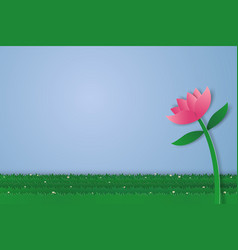 Flower and field of grass with blank space paper vector