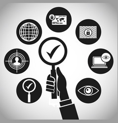 hand search technology protection concept vector image
