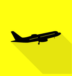 flying plane sign side view black icon with flat vector image vector image